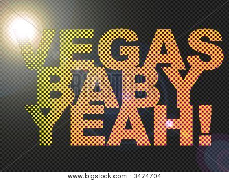 Dotted Led Lit Vegas Baby Yeah! Sign Glowing Bright Orange