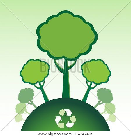 Reforestation with recycle symbol.