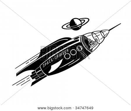 Space Cruiser - Retro Clipart Illustration