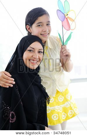 Muslim Arabic mother and daughter