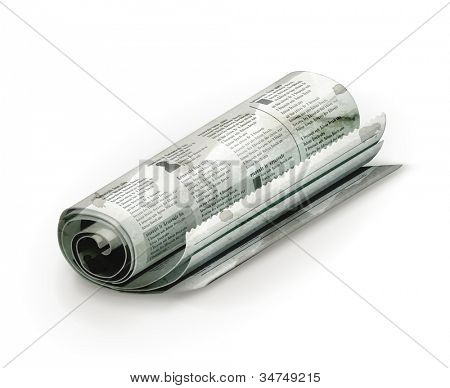 Rolled Newspaper, old-style vector isolated