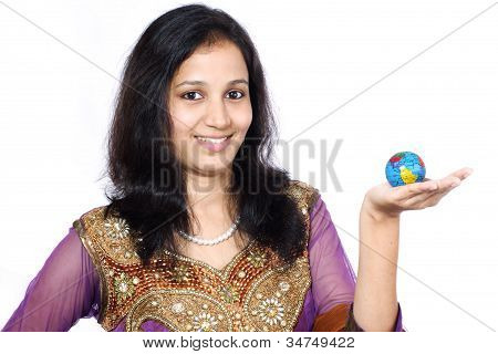 Young Woman Holding A Globe