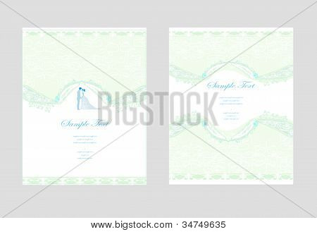 elegant wedding invitation card set with wedding couple , vector illustration