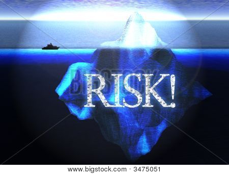 Floating Iceberg In The Open Ocean With Small Boat And Risk Text Nearby Illustration