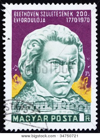 Postage stamp Hungary 1970 Statue of Beethoven by Janos Pasztor