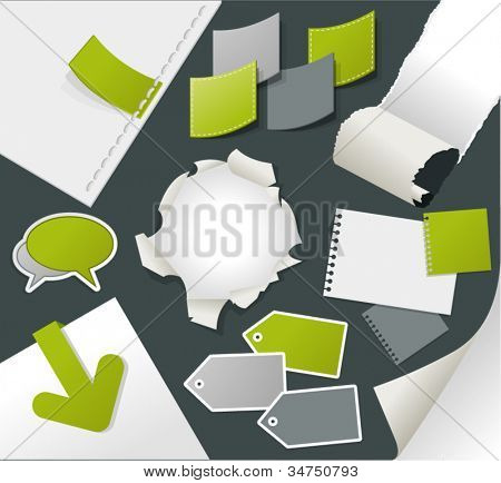 Colorful business design elements and page decoration. Set of vector paper stickers.