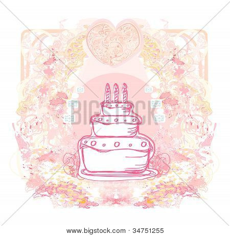 Happy Birthday Card with birthday cake , vector illustration