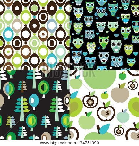 Seamless retro kids owl apple background pattern in vector