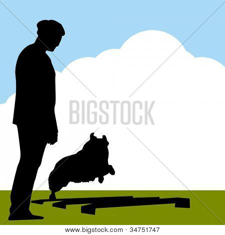 An image of border collie dog with trainer.