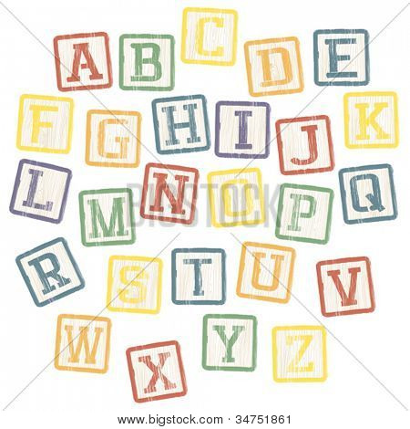 Baby blocks alphabet collection. Vector, EPS8