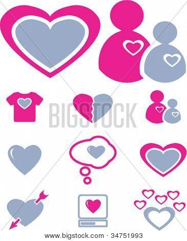 love & wedding icons set, vector