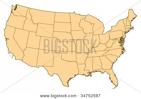 Map Of United States, Delaware Highlighted