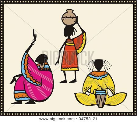 Vector set of African people in traditional clothing.