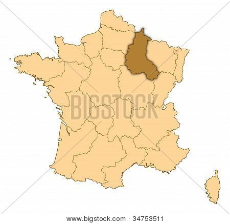 Map Of France, Champagne-ardenne Highlighted