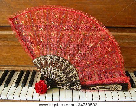 Fan, Rose & Piano 1