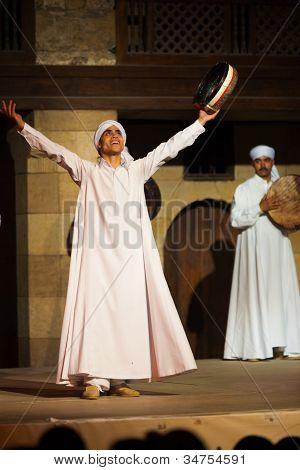 White Robe Sufi Dancer Raised Arms Cairo