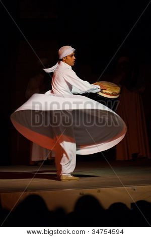 White Robe Whirling Dervish Sufi Dance Cairo