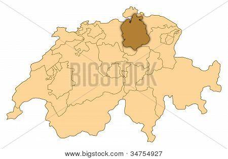 Map Of Switzerland, Zurich Highlighted