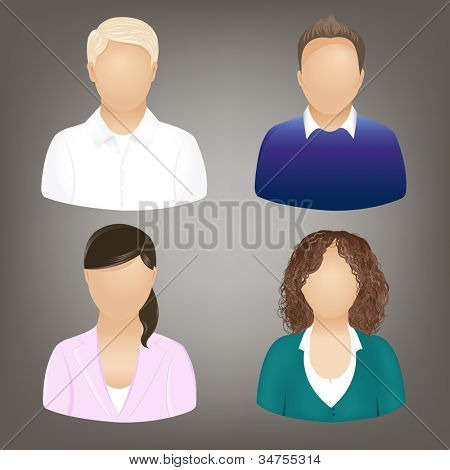 Set Of Business People Icons, Isolated On Grey