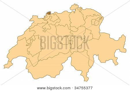 Map Of Switzerland, Basel-stadt Highlighted