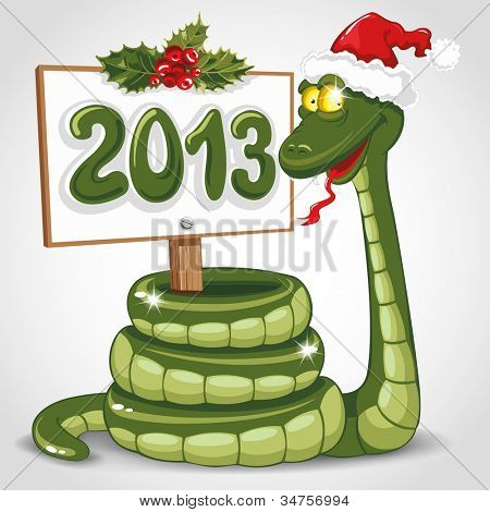 Cute snake (symbol of 2013 year) in Santa's hat. Vector illustration.