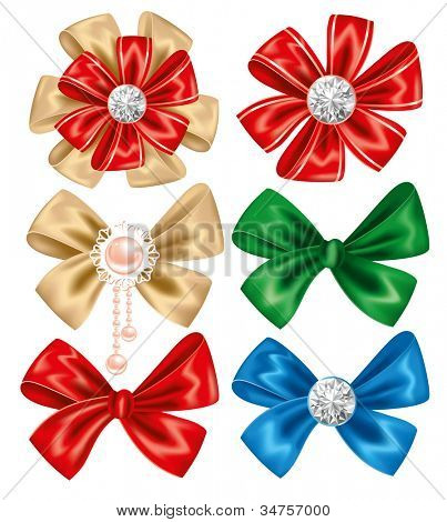 Collection of different bows on white background. Vector illustration.
