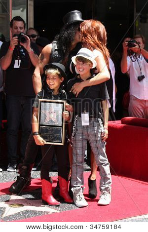 LOS ANGELES - JUL 9:  Slash, wife Perla and two sons at the Hollywood Walk of Fame Ceremony for Slash at Hard Rock Cafe at Hollywood & Highland on July 9, 2012 in Los Angeles, CA
