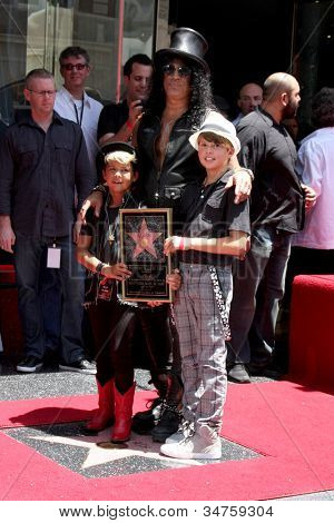 LOS ANGELES - JUL 9:  Slash and two sons at the Hollywood Walk of Fame Ceremony for Slash at Hard Rock Cafe at Hollywood & Highland on July 9, 2012 in Los Angeles, CA