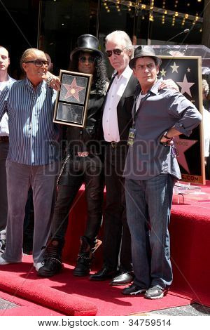 LOS ANGELES - JUL 9:  Robert Evans, Slash, Jim Ladd, Charlie Sheen at the Hollywood Walk of Fame Ceremony for Slash at Hard Rock Cafe at Hollywood & Highland on July 9, 2012 in Los Angeles, CA
