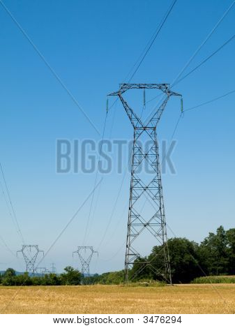 High Voltage Electricity  Pylons In The Countryside