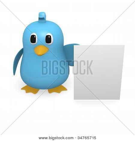 Blue bird with a blank sign