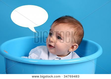 baby on a blue bucket, studio shoot, baby bubble talk