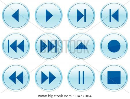 Multimedia Navigation Buttons Set.