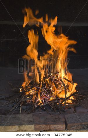 Fire flames in traditional fireside