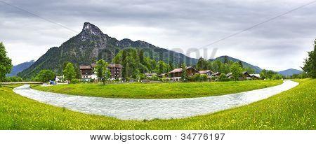 Rural landscape with river. Oberammergau