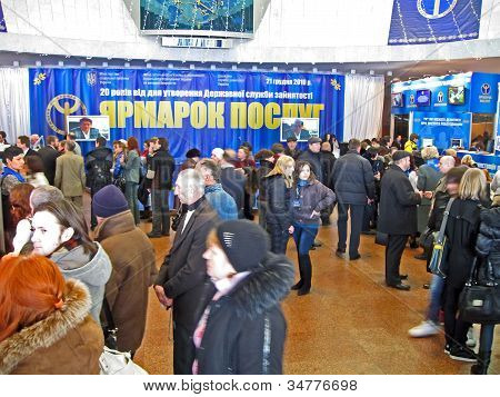 KIEV-DECEMBER 21:People looking for job during employment fair on December 21,2010 in Kiev, UKRAINE