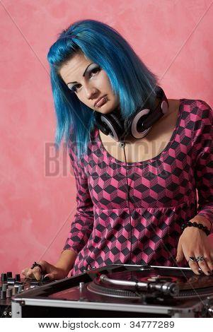 Punk Girl Dj With Dyed Turqouise Hair