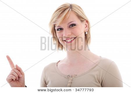 Saleslady Pointing To Blank Copyspace