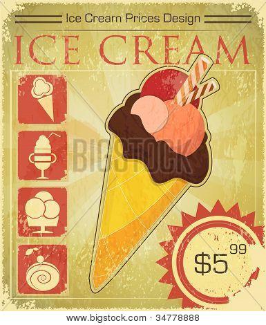 Design Ice Cream Price In Grunge Style