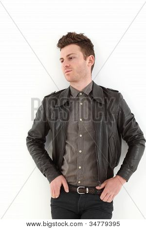 Young Adult Man Posing With Leather Jacket