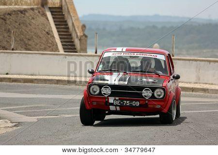 Foz Do Arelho, Portugal - May 13: Bruno Pereira Drives A Datsun 1200 During Rally Sprint Foz Do Arel