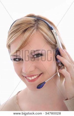 Smiling Call Center Employee