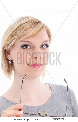 Attractive Blonde Woman Holding Glasses