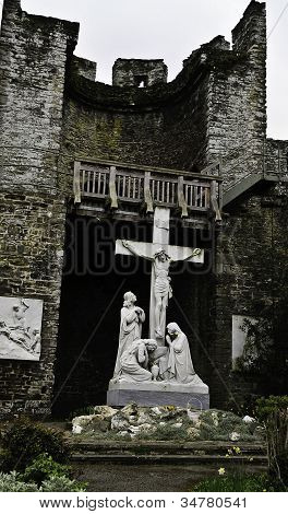 Crucifixion and Stations of the Cross at St Michael's , Conwy, Wales