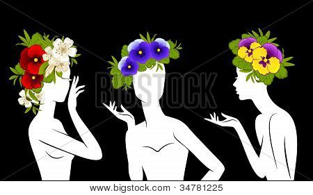 Beautiful silhouettes of girls in hats from flowers on black background.Vector