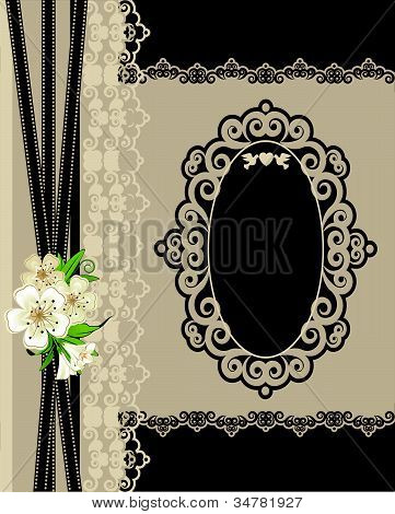 Vintage background with lace ornaments and flowers.Vektor