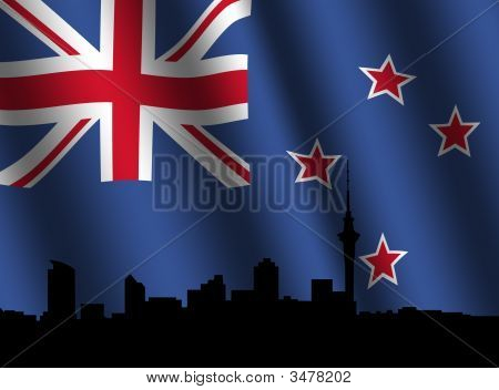 Auckland Skyline With Rippled Flag