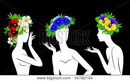 Beautiful silhouettes of girls in hats from flowers on black background Vector