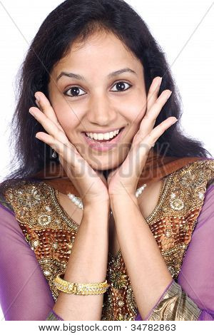 Excited Young Indian Woman