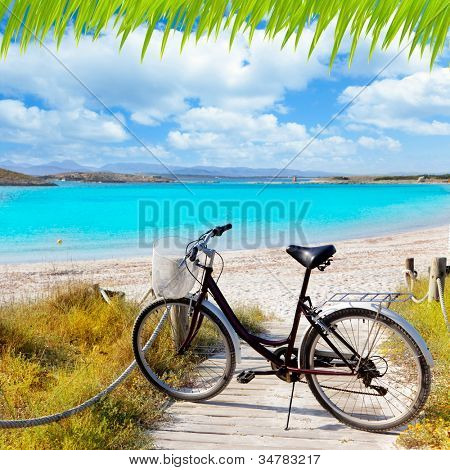 Bicycle in formentera beach on Balearic islands at Illetes Illetas [photo-illustration]